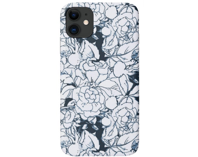 Navy Floral iPhone 11, XS, XR, X, 7/8, 6/6S Pro/Max/P/Plus Snap Case or Tough Protective Cover Light/Dark Blue Retro Wallpaper Print/Pattern