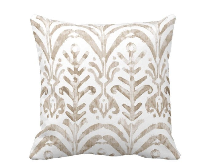 "Watercolor Print Throw Pillow or Cover, Beige/White 16, 18, 20 or 26"" Sq Pillows or Covers, Ikat/Boho/Tribal/Geo/Pattern/Design"