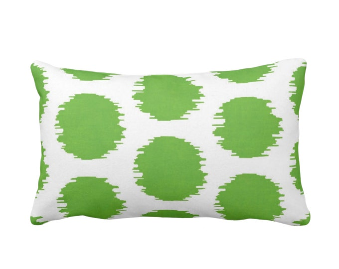 "Ikat Dot Throw Pillow or Cover, Green/White 14 x 20"" Lumbar Pillows or Covers, Scribble/Dots/Spots/Spot/Circles/Polka/Dotted Print/Pattern"