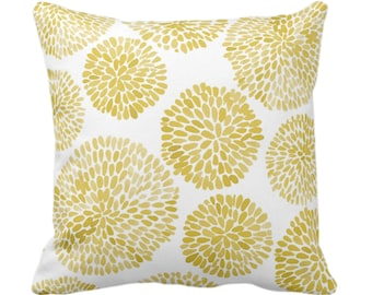 "OUTDOOR Watercolor Chrysanthemum Throw Pillow/Cover, Dijon/White 14, 16, 18, 20, 26"" Sq Pillows/Covers, Mustard Modern/Floral/Flower Print"