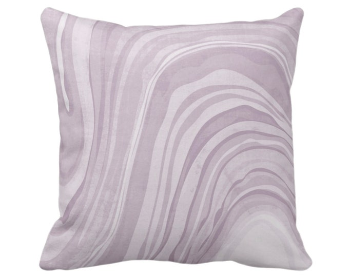 "Marbled Throw Pillow or Cover, Iced Lavender 14, 16, 18, 20 or 26"" Sq Pillows/Covers, Abstract/Wavy/Marble Art Print Pattern, Dusty Purple"