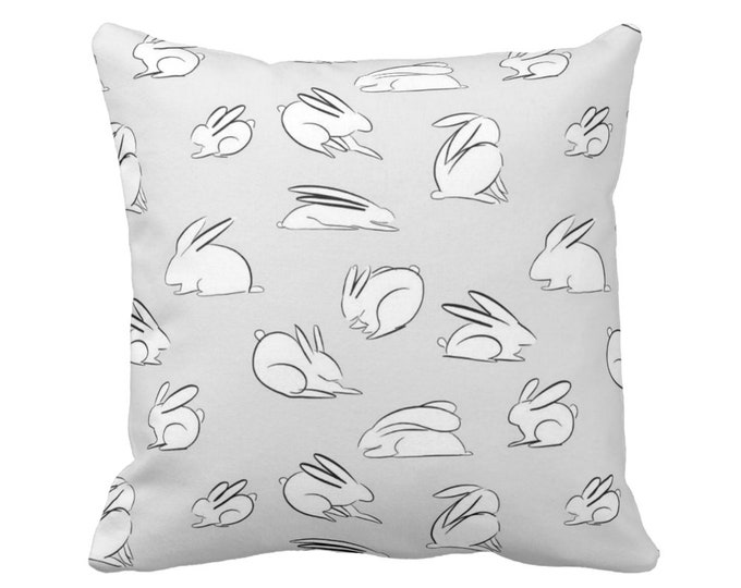 "Modern Bunny Print Throw Pillow or Cover, Gray/White 14, 16, 18, 20"" Sq Pillows/Covers, Gender Neutral Nursery Animals/Rabbit/Cute/Boho"