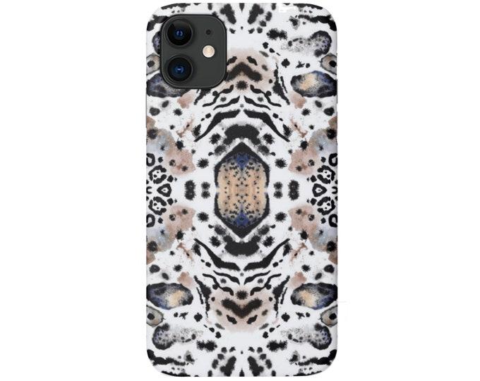 Mirror Leopard Print iPhone 11, XS, XR, X, 7/8, 6/6S Pro/Max/P/Plus Snap Case or TOUGH Protective Cover Beige//Black Animal/Spots Pattern