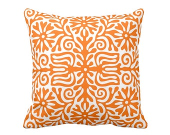 "Folk Floral Throw Pillow or Cover, Orange/White 16, 18, 20 or 26"" Sq Pillows or Covers, Bright Mexican/Boho/Bohemian/Tribal/Art"
