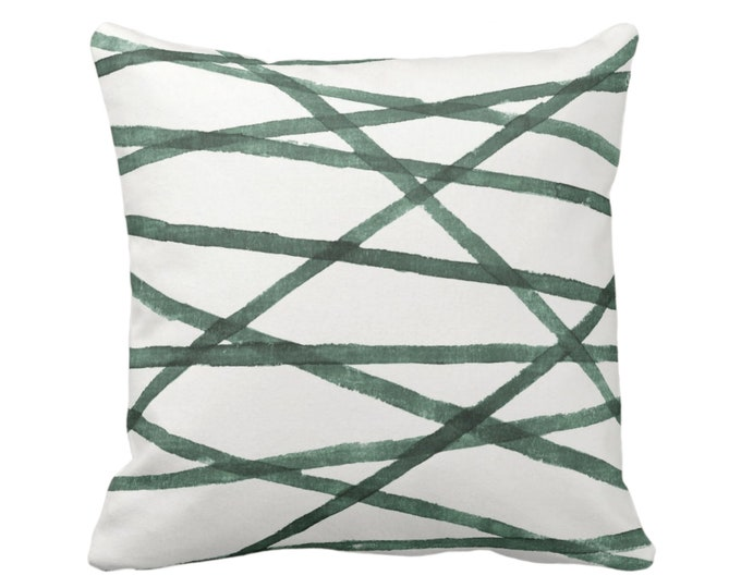 "SALE - OUTDOOR Hand Painted Lines Throw Pillow Covers, Kale & White 19"" Sq Pillows/Covers, Channels/Stripes Print Emerald/Green Geometric"