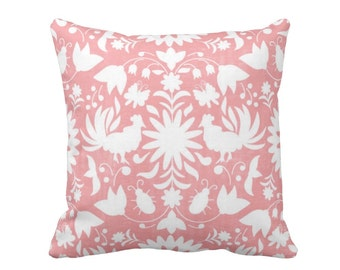 "Otomi Throw Pillow or Cover, Light Pink/White 16, 18, 20 or 26"" Sq Pillows or Covers, Mexican/Boho/Floral/Animals/Nature Print"