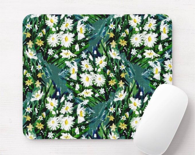 Retro Floral Mouse Pad, Vintage Maximalist Blue/Green/Yellow/Black Flowers/Art Print/Pattern Mousepad, Bright/Colorful/Happy