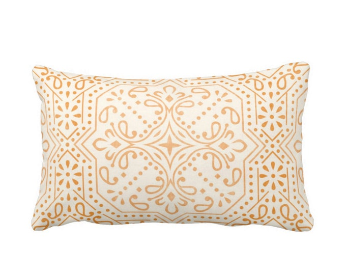"Tile Print Throw Pillow or Cover, Mustard Seed 14 x 20"" Lumbar Pillows or Covers, Off-White/Yellow Medallion/Geo/Geometric/Tribal Pattern"