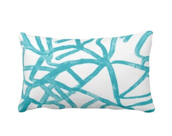 "Abstract Print Throw Pillow or Cover, White/Mod Turquoise 14 x 20"" Lumbar Pillows or Covers Painted Aqua Abstract/Geometric/Geo/Modern/Lines"