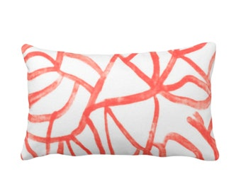 "Abstract Print Throw Pillow or Cover, White/Coral 14 x 20"" Lumbar Pillows/Covers Painted Salmon/Red/Orange Abstract/Geometric/Modern/Lines"