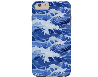 SALE Waves iPhone X CASE-Mate TOUGH Case/Cover, Blue Modern Ocean/Beach Print, Protective Japanese Water Design