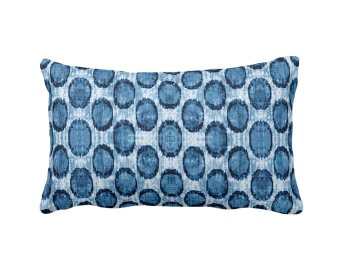 "OUTDOOR Ikat Ovals Print Throw Pillow or Cover 14 x 20"" Lumba Pillows or Covers, Indigo Blue Geometric/Circles/Dots/Dot/Geo/Polka Pattern"