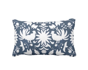 "OUTDOOR Otomi Throw Pillow or Cover, Navy/White 14 x 20"" Lumbar Pillows/Covers, Blue Mexican/Boho/Floral/Flower/Animal Print/Pattern"