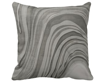 "Marbled Throw Pillow or Cover, Shale Gray 14, 16, 18, 20 or 26"" Sq Pillows/Covers, Abstract/Wavy/Marble Art Print Pattern, Dark Grey/Taupe"