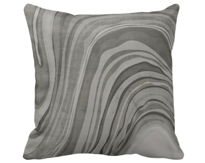 """Marbled Throw Pillow or Cover, Shale Gray 14, 16, 18, 20 or 26"""" Sq Pillows/Covers, Abstract/Wavy/Marble Art Print Pattern, Dark Grey/Taupe"""