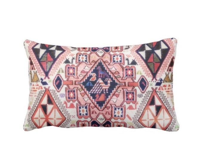 "OUTDOOR Tribal Geo Print w/ Birds Throw Pillow or Cover, Pink/Blue 14 x 20"" Lumbar Pillows or Covers Red Geometric/Boho/Carpet/Rug Pattern"