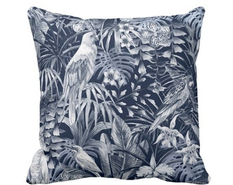 """Navy Tropical Throw Pillow or Cover, 16, 18, 20 or 26"""" Sq Pillows or Covers, Birds/Floral/Palm/Palms/Leaf Jungalo Print/Pattern"""