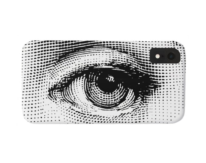 Fornasetti Eye iPhone 11, XS, XR, X, 7/8, 6/6S Pro/Max/Plus/P Snap Case or TOUGH Protective Cover, Black/White Modern, Lina Cavalieri Eyes