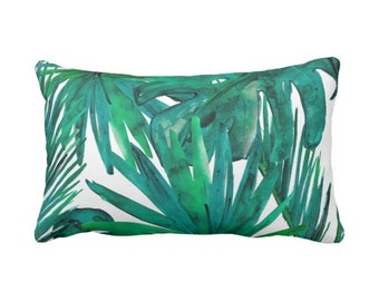 "OUTDOOR Palm Leaves Throw Pillow or Cover, Emerald Green & Teal Print 14 x 20"" Lumbar Pillows or Covers, Colorful Tropical/Leaf/Modern"