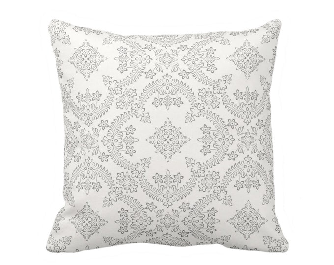 """Priano Tile Print Throw Pillow or Cover, Charcoal/White 16, 18, 20 or 26"""" Sq Pillows or Covers, Dark Gray Floral/Geometric/Trellis Pattern"""