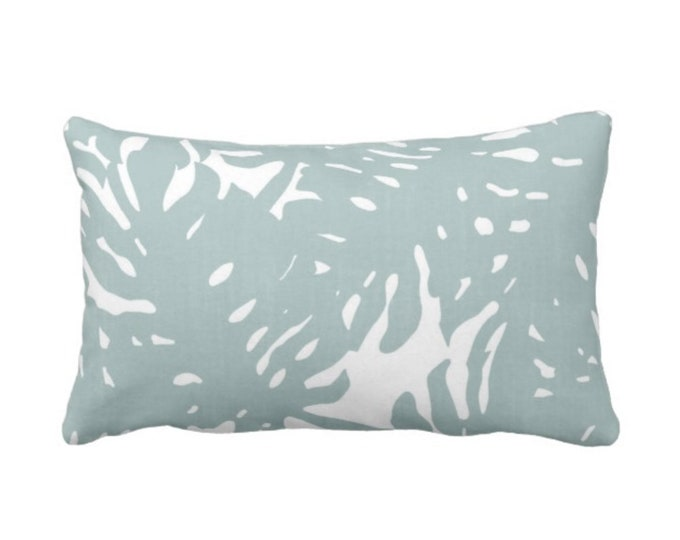 """OUTDOOR Palm Silhouette Throw Pillow or Cover Silver Sage Print 14 x 20"""" Lumbar Pillows/Covers, Dusty Blue/Green Tropical/Modern"""