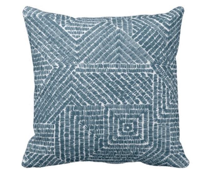 "Tribal Geo Throw Pillow or Cover, Teal 16, 18, 20 or 26"" Sq Pillows or Covers, Dark/Deep Blue/Green Geometric/Tribal/Batik/Geo/Boho/Diamond"
