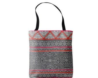 Vintage Thai Batik Printed Market Tote, Boho Dark Indigo, Orange & Pink Miao Hill Tribe Print Bag
