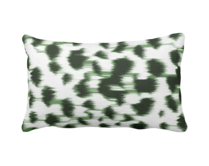 "OUTDOOR Ikat Abstract Animal Print Throw Pillow/Cover 14 x 20"" Lumbar Pillows/Covers, Kale Green/White Spots/Spotted/Dots/ Painted Pattern"