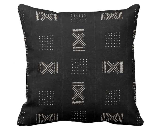 """Mud Cloth Print Throw Pillow or Cover, Double X & Dots Black/Off-White 16, 18, 20, 26"""" Sq Pillows/Covers, Mudcloth/Boho/Cross/Tribal/Design"""