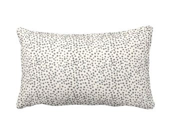 "READY 2 SHIP Confetti Dots Throw Pillow Cover, Charcoal & Cream Print 12 x 18"" Lumbar Pillows Covers, Black/Ebony/Off-White Scatter Dot"