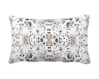 """OUTDOOR Abstract Animal Print Throw Pillow or Cover, Black/Beige/Ivory 14 x 20"""" Lumbar Pillows/Covers, Cat/Leopard/Spot/Spotted Pattern"""