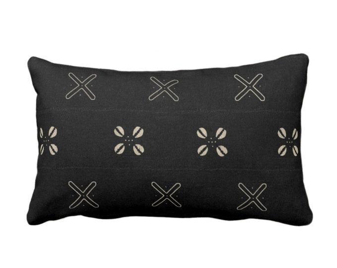 """OUTDOOR Mud Cloth Throw Pillow or Cover, Cowrie Shell Black/Off-White Print 14 x 20"""" Lumbar Pillows/Covers, Mudcloth/Tribal/Geometric/X"""