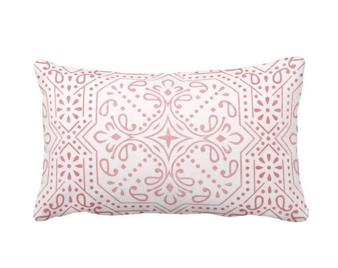 "OUTDOOR Tile Print Throw Pillow or Cover, Rosewood/White 14 x 20"" Lumbar Pillows/Covers, Dusty Pink Geometric/Batik/Trellis Pattern"