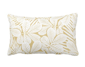 "OUTDOOR Modern Leaves Throw Pillow or Cover, Mustard & White Print 20 x 14"" Lumbar Pillows or Covers, Yellow Retro Tropical Print/Pattern"