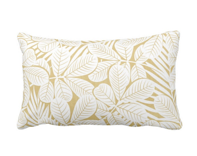 """Modern Leaves Throw Pillow or Cover, Mustard & White Print 20 x 14"""" Lumbar Pillows or Covers, Yellow Retro Tropical Print/Pattern"""