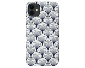 Deco Shells iPhone 11, XS, XR, X, 7/8, 6/6S Pro/Max/Plus/P Snap Case or TOUGH Protective Cover Navy Blue/White Modern/Geometric Print Galaxy