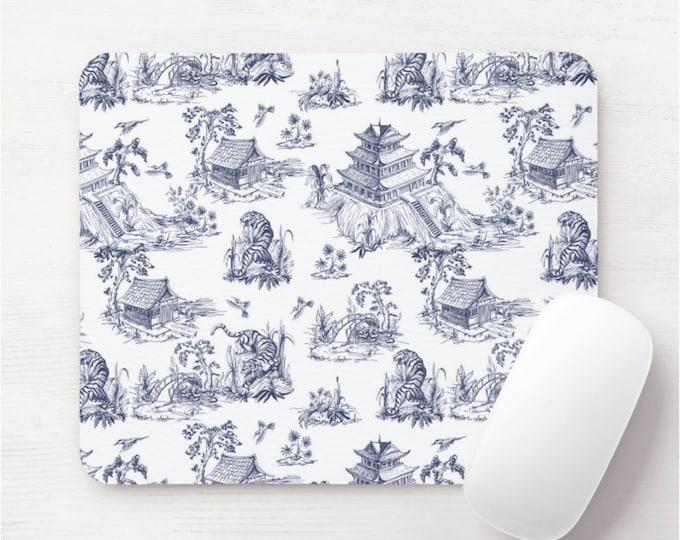 Tiger Toile Mouse Pad/Mousepad, Cat/Animal Print, Indigo/Navy Blue & White Chinoiserie/China/Willow/Pagoda/Vase Pattern