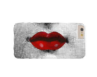 READY 2 SHIP Fornasetti Red Lips iPhone 7/8 Plus/P Case-Mate Tough Case/Cover, Black, White, Modern Lina Cavalieri
