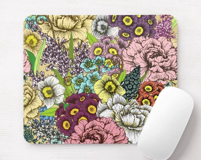 Retro Floral Mouse Pad, Black, Red, Pink, Purple & Blue Flowers/Art Print Mousepad
