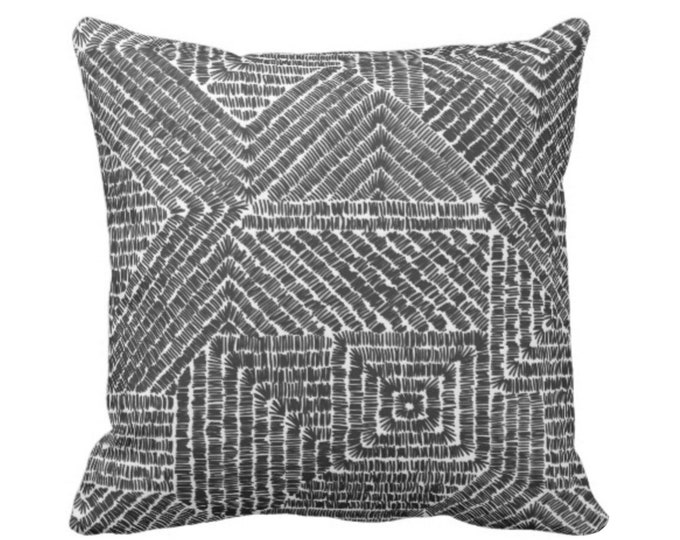 "OUTDOOR Tribal Geo Throw Pillow or Cover, Black & White 16, 18 or 20"" Sq Pillows or Covers, Scratch Geometric/Tribal/Batik/Geo/Boho/Diamond"