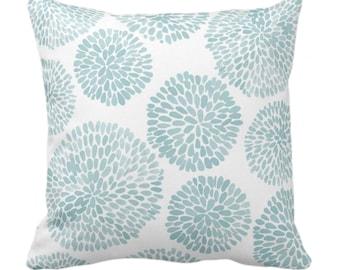 "Watercolor Chrysanthemum Throw Pillow or Cover,Aqua/White 14, 16, 18, 20, 26"" Sq Pillows/Covers Light Blue/Green Modern/Floral/Flower Print"