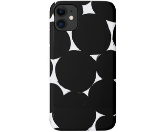 Big Dots iPhone 12, 11, XS, XR, X, 7/8, 6/6S, Pro/Max/P/Plus Snap Case or TOUGH Protective Cover, Black/White Modern Geometric/Geo Print