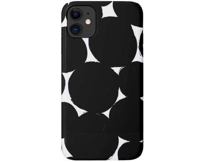 Big Dots iPhone 11, XS, XR, X, 7/8, 6/6S, Pro/Max/P/Plus Snap Case or TOUGH Protective Cover, Black/White Modern Geometric/Geo Print, Galaxy