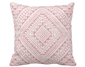 "Diamond Geo Throw Pillow or Cover, Rosewood 16, 18, 20 or 26"" Sq Pillows or Covers, Dusty Pink Geometric/Tribal/Batik/Geo/Boho"