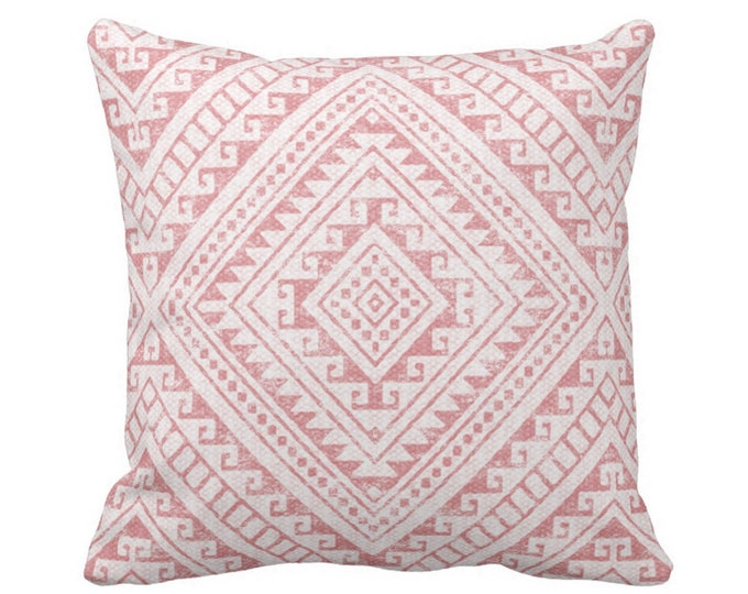"SALE Diamond Geo Throw Pillow Cover, Rosewood 20"" Sq Pillow Covers, Dusty Pink Geometric/Tribal/Batik/Geo/Boho"