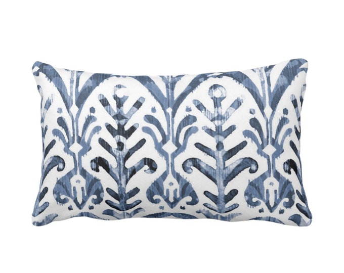 """Watercolor Print Throw Pillow or Cover, Navy Blue/White 14 x 20"""" Lumbar Pillows or Covers, Dusty/Slate Ikat/Boho Print/Design Hand Painted"""