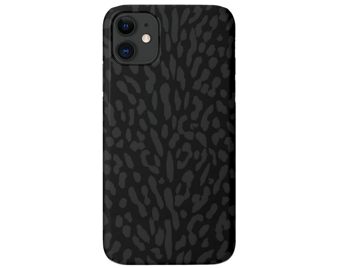 Abstract Animal Print iPhone 11, XS, XR, X, 7/8, 6/6S Pro/Max/Plus/P Snap Case or TOUGH Protective Cover, Black/Grey Animal Spots, Galaxy/lg