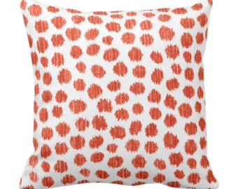 """OUTDOOR Scratchy Dots Throw Pillow/Cover, Rust/White 14, 16, 18, 20, 26"""" Sq Pillows/Covers, Dark Orange Dots/Spots/Dotted/Geo Print/Pattern"""