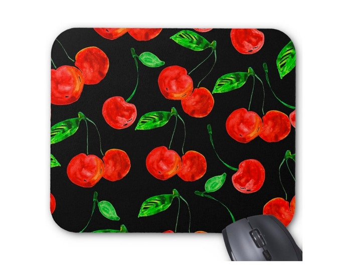 Cherries Watercolor Mouse Mouse Pad, Black & Bright Red Art Print Mousepad