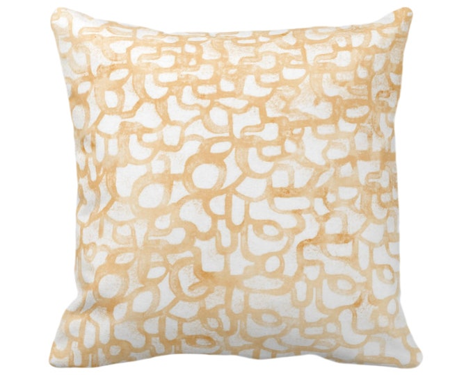 """OUTDOOR Abstract Curves Throw Pillow or Cover, Canteloupe 16, 18, 20"""" Sq Pillows Covers, Light Orange Painted Modern/Geometric/Lines Print"""